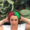 turbante-tela-hecho-a-mano-verde-granate